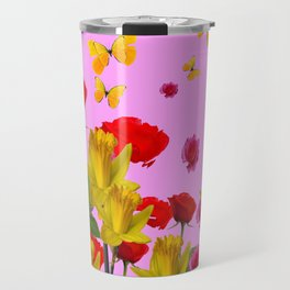 DECORATIVE YELLOW BUTTERFLIES, RED ROSES, DAFFODILS SPRING FLOWERS Travel Mug