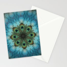 Infinite Waters // Peacock Feather Mandala Bohemian Blue Green Chakra Energy Healing Third Eye Peace Stationery Cards