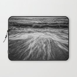 Coastal Nature Photograph Washing Out to Sea in Black and White Beach Art Laptop Sleeve