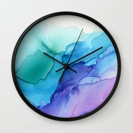 Aqua Magenta Violet Abstract Watercolor  Ink Wall Clock