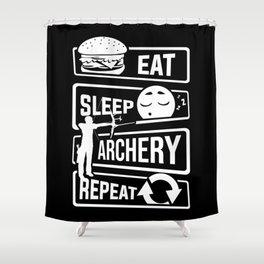 Eat Sleep Archery Repeat - Archery Arrow Bow Hunt Shower Curtain