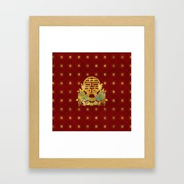 Gold Double Happiness Symbol with  birds Framed Art Print