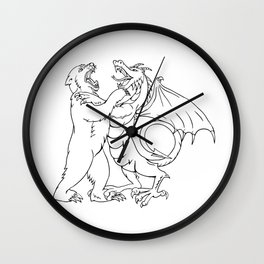 Bear Fighting Chinese Dragon Drawing Black and White Wall Clock