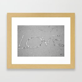 Love in the Sand - Black and White Framed Art Print