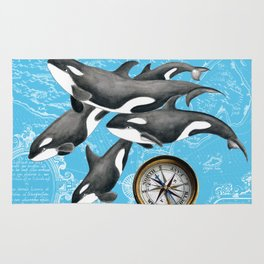 Orca Whales Pod Blue Compass Vintage Map Rug