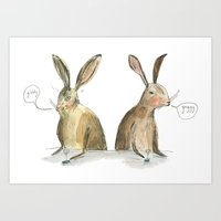 rabbits Art Prints featuring Rabbits by ELIZABETH GRAEBER