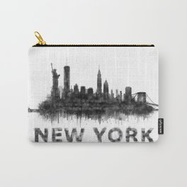 NY New York City Skyline NYC Black-White Watercolor art Carry-All Pouch