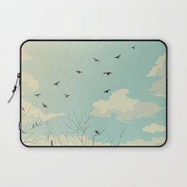 Fly Away - Watercolor Sky with Birds In Flight Laptop Sleeve