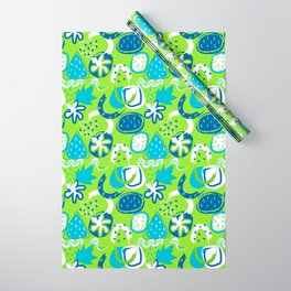 Brushstroke Abstracts - blue and green Wrapping Paper