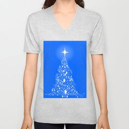 Star Spangled Snowflake Christmas Tree Unisex V-Neck