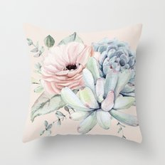 Elegant Blush Pink Succulent Garden by Nature Magick Throw Pillow