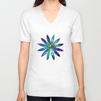 flower pattern V-neck T-shirts featuring Flower pattern by Avril Harris