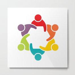 People Group in Meeting. Teamwork Concept Metal Print