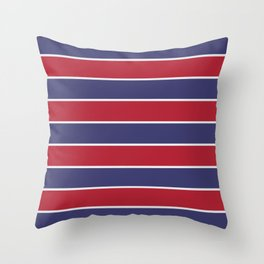 Large Red White and Blue USA Memorial Day Holiday Horizontal Cabana Stripes Throw Pillow