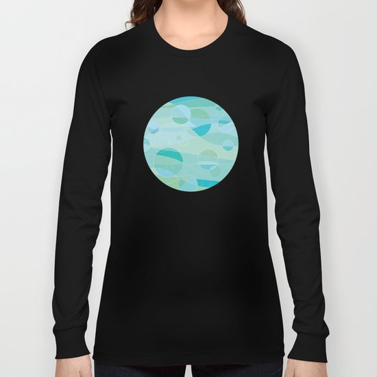 Abstract Ocean Waves Graphic Art Long Sleeve T-shirt