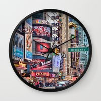 broadway Wall Clocks featuring Broadway, NYC by June Marie