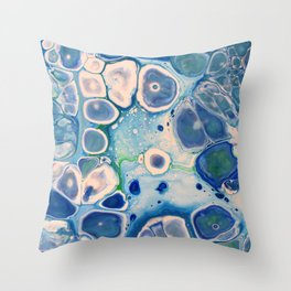 Blue Green Cells Fluid Pour Art Marble Swirls Stone Throw Pillow