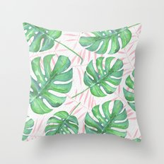 Tropical Pink & Palm Throw Pillow