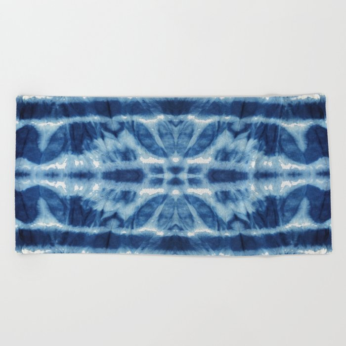 984ec04eb25e Tie Dye Blues Twos Beach Towel by ninamay