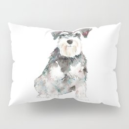 Miniature Schnauzer dog watercolors illustration Pillow Sham