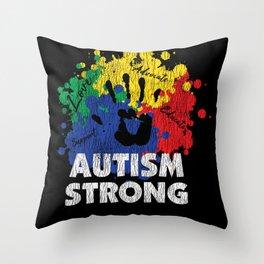 Vintage Autism Strong Autistic Kids Awareness Gift Throw Pillow