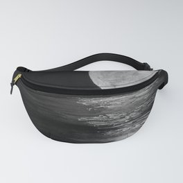 Full Moon, Moonlight Water, Moon at Night Painting by Jodi Tomer. Black and White Fanny Pack