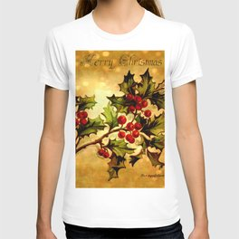 Christmas Holly, Vintage Botanical Illustration Collage T-shirt