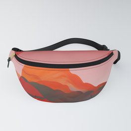 """Coral Pink Sci-Fi Mountains"" Fanny Pack"