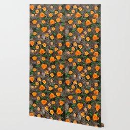 Orange Tea Rose Garden Wallpaper