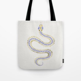 Snake Skeleton – Periwinkle & Gold Tote Bag