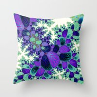 novelty Throw Pillows featuring Leafy Nosegay Fractal by Moody Muse