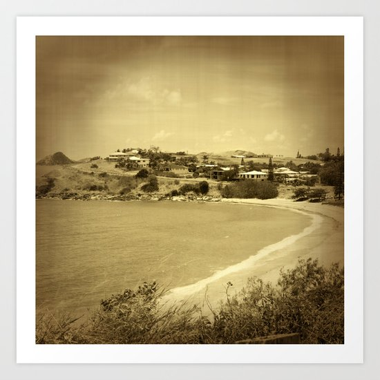 Bay and beach side suburb in sepia Art Print
