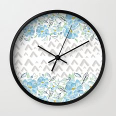 Gray arrows and blue flowers Wall Clock