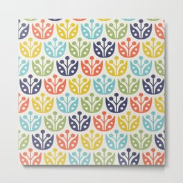 Mid Century Flower Pattern multicolored Metal Print