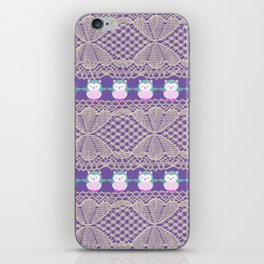 Vintage ivory purple floral lace cute funny owls iPhone Skin