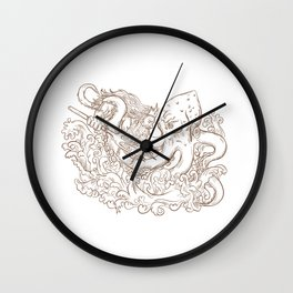 Neptune Fighting Giant Octopus Drawing Wall Clock
