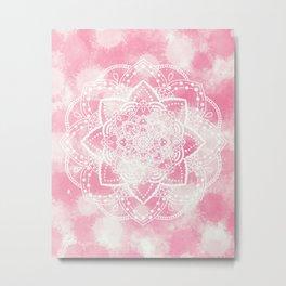 Mandala pink paint Metal Print
