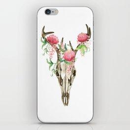 Bohemian deer skull and antlers with flowers iPhone Skin