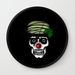 Irish Clown Skeleton Wall Clock