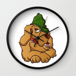 detective dog cartoon Wall Clock