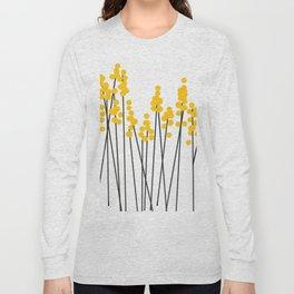 Hello Spring! Yellow/Black Retro Plants on White #decor #society6 #buyart Long Sleeve T-shirt