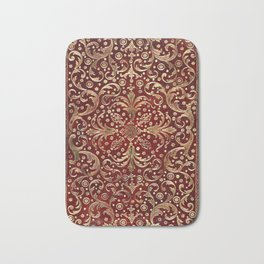 Golden Swirled Red Book Cover Bath Mat