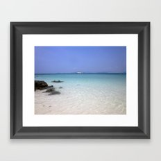 blue skies, clear waters Framed Art Print