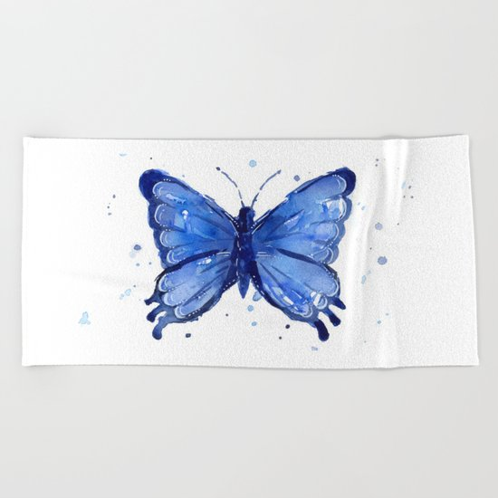 Butterfly Blue Watercolor Animal Painting Beach Towel