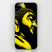 buddah iPhone & iPod Skins featuring Buddah Head 01; Gold  by Kether Carolus