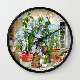 Jerusalem courtyard oil on canvas 25  x 18 inches Wall Clock