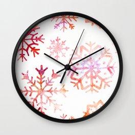 Red Watercolor Snowflakes Wall Clock