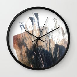 Clarity: a pretty, minimal abstract in rose gold and deep blue Wall Clock