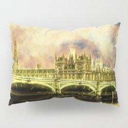 Abstract Golden Westminster Bridge in London Pillow Sham