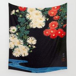 Ohara Koson Chrysanthemums and Running Water 1931 Japanese Woodblock Print Vintage Historical Wall Tapestry